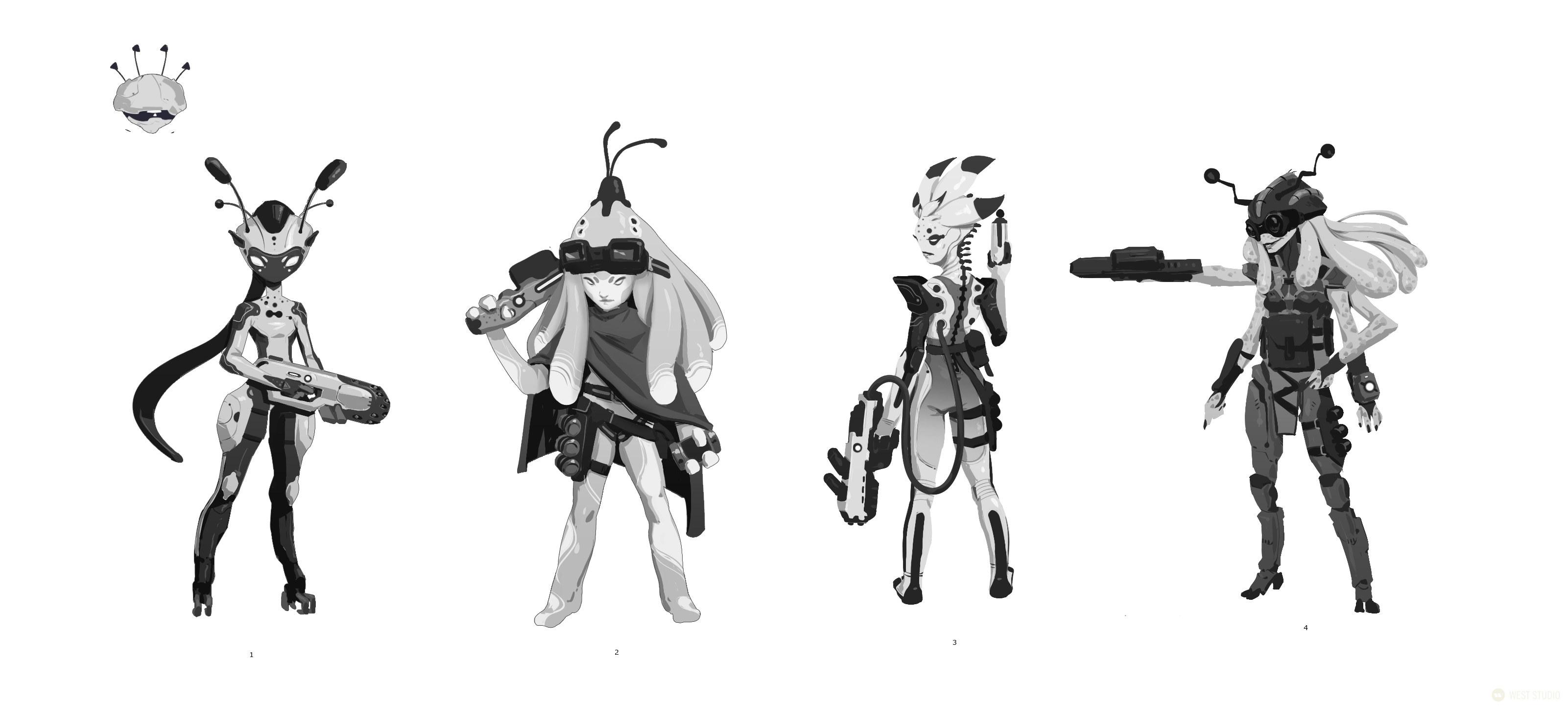 concept art, visual development, character design, creature design, game development, science fiction, sci-fi, key art, stylized