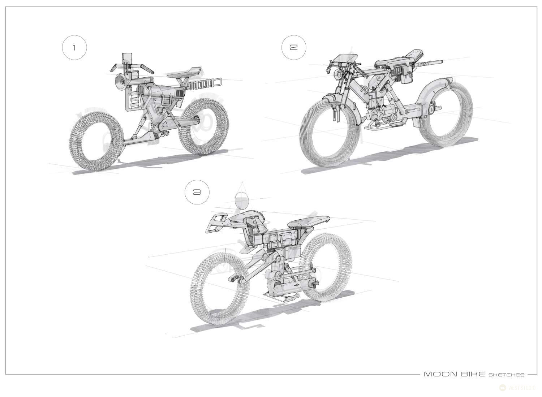 Nasa, JPL, West Studio, Vehicle Design, Concept Art, David Knapp, Visual Development, Product Design, Moon Motorbike