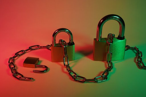3 pad locks under red and green lights, with a chain connecting them all.