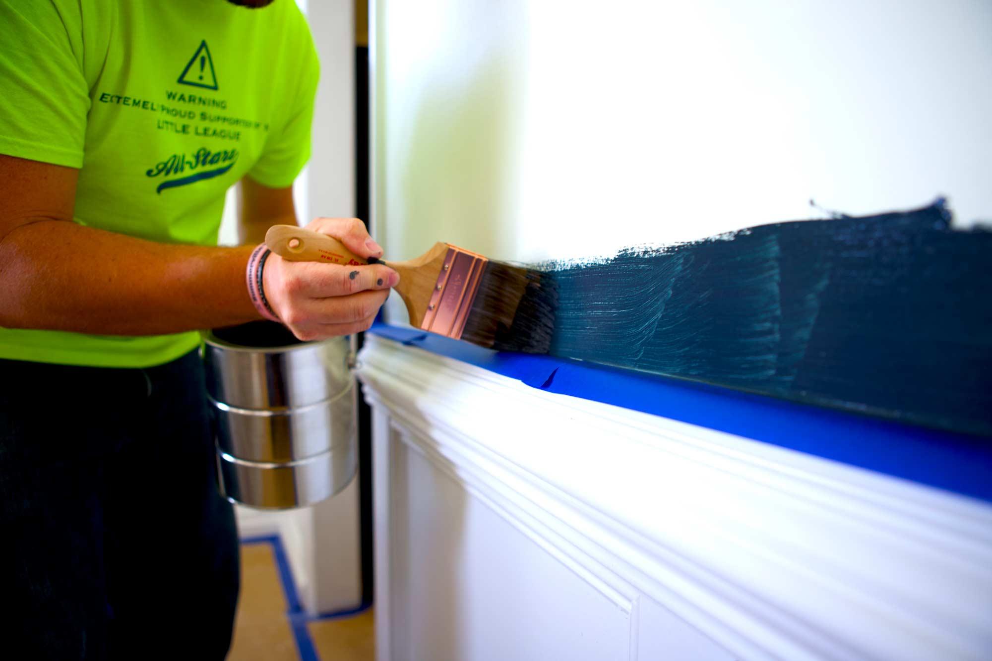 Team member painting