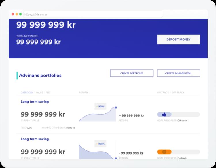 Advinans desktop web app screenshot