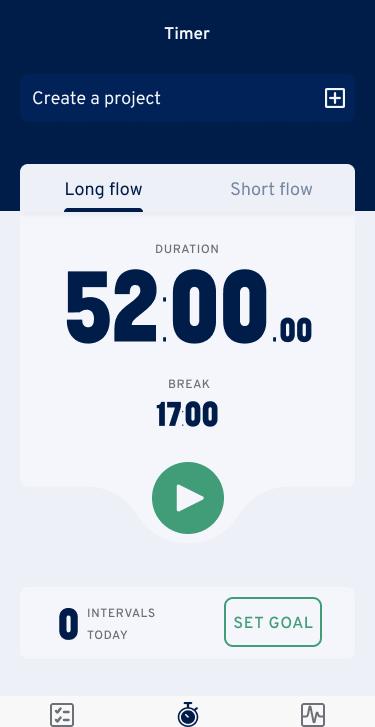 Flowtimer home screen
