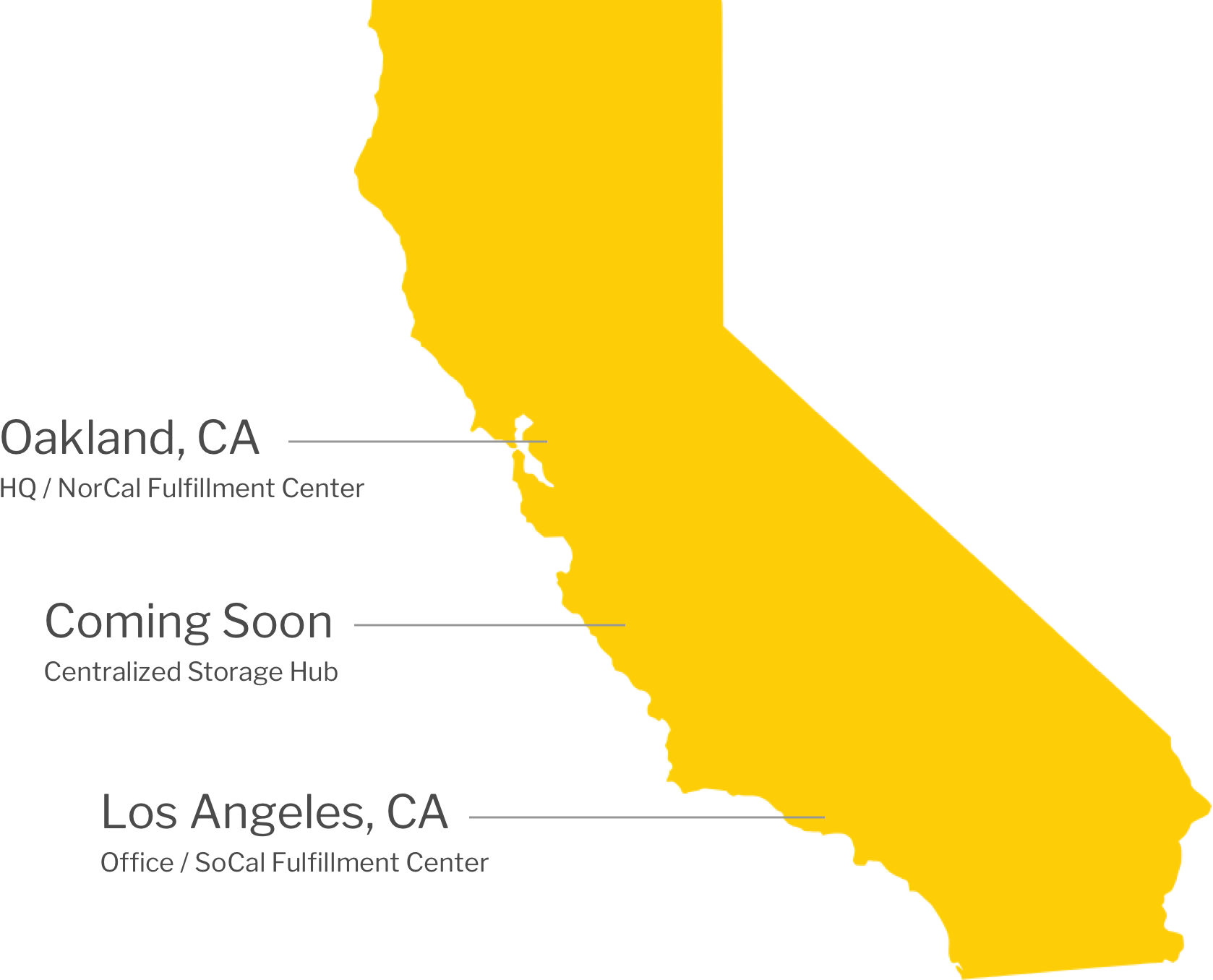 Nabis locations in Oakland, CA and Los Angeles, CA. A centalized storage hub is coming soon.