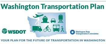Washington Transportation Plan blue logo with cyclist and modes of transport