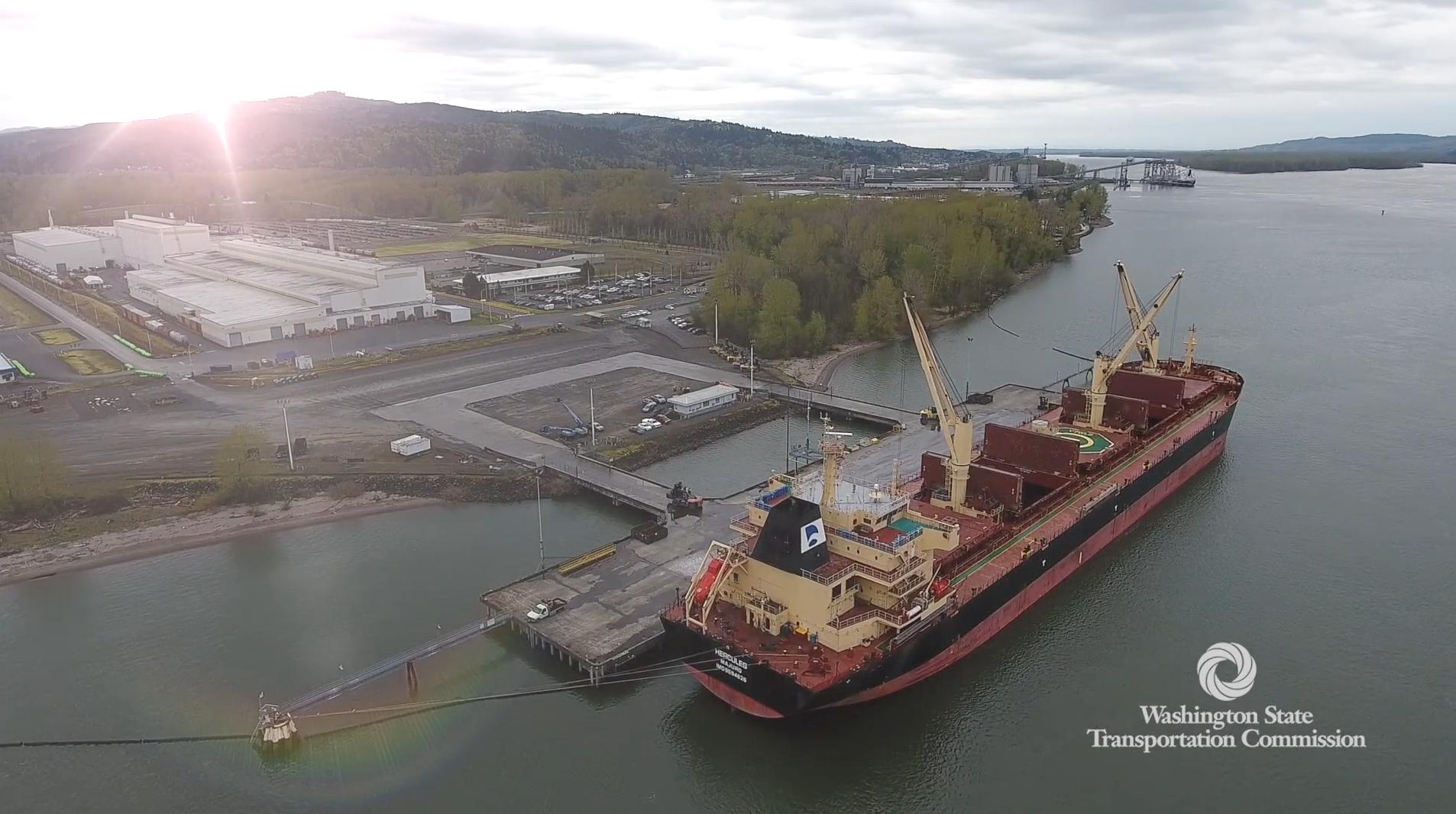 Loading cargo ship at port in Washington State