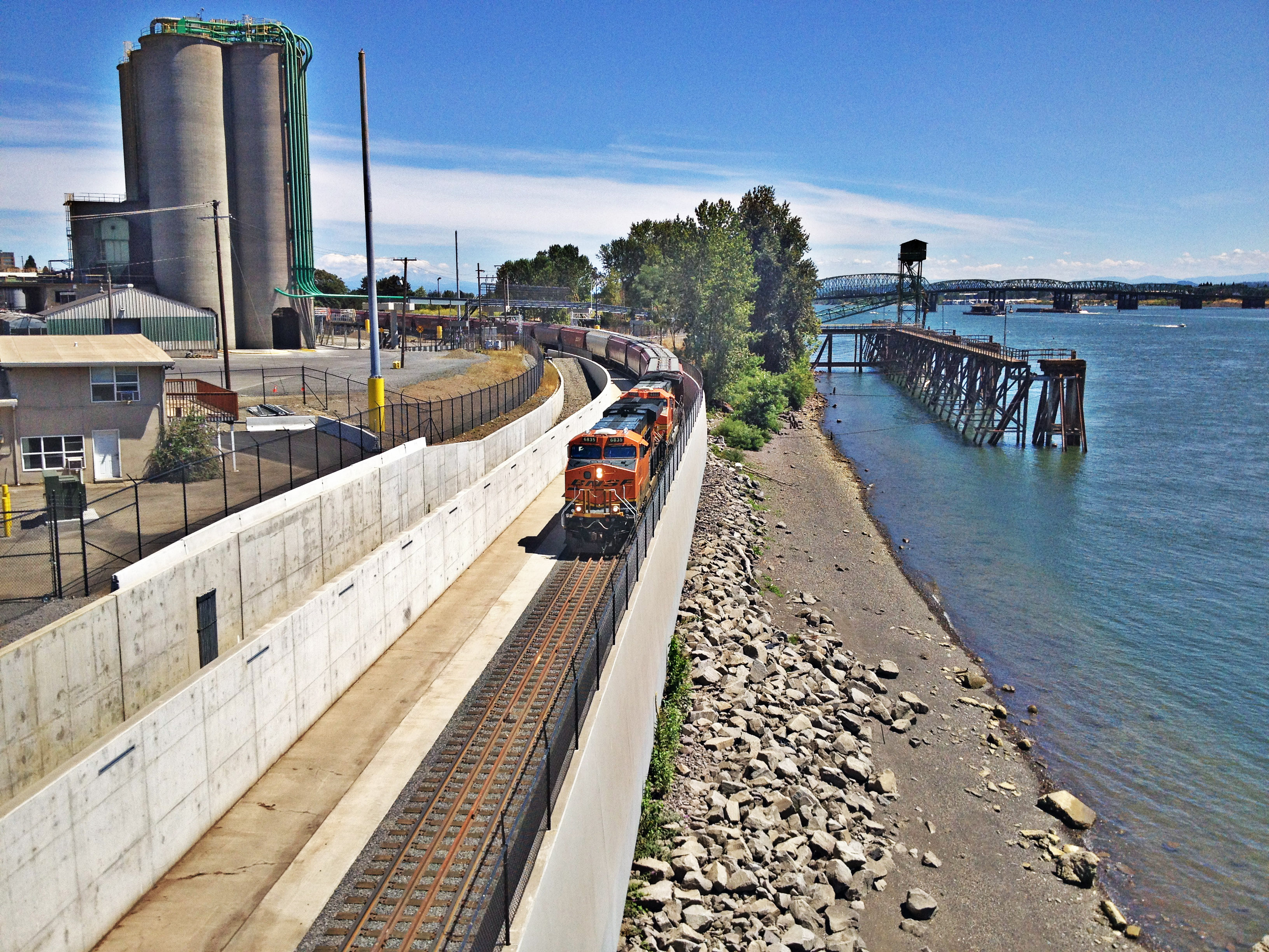 freight train near water