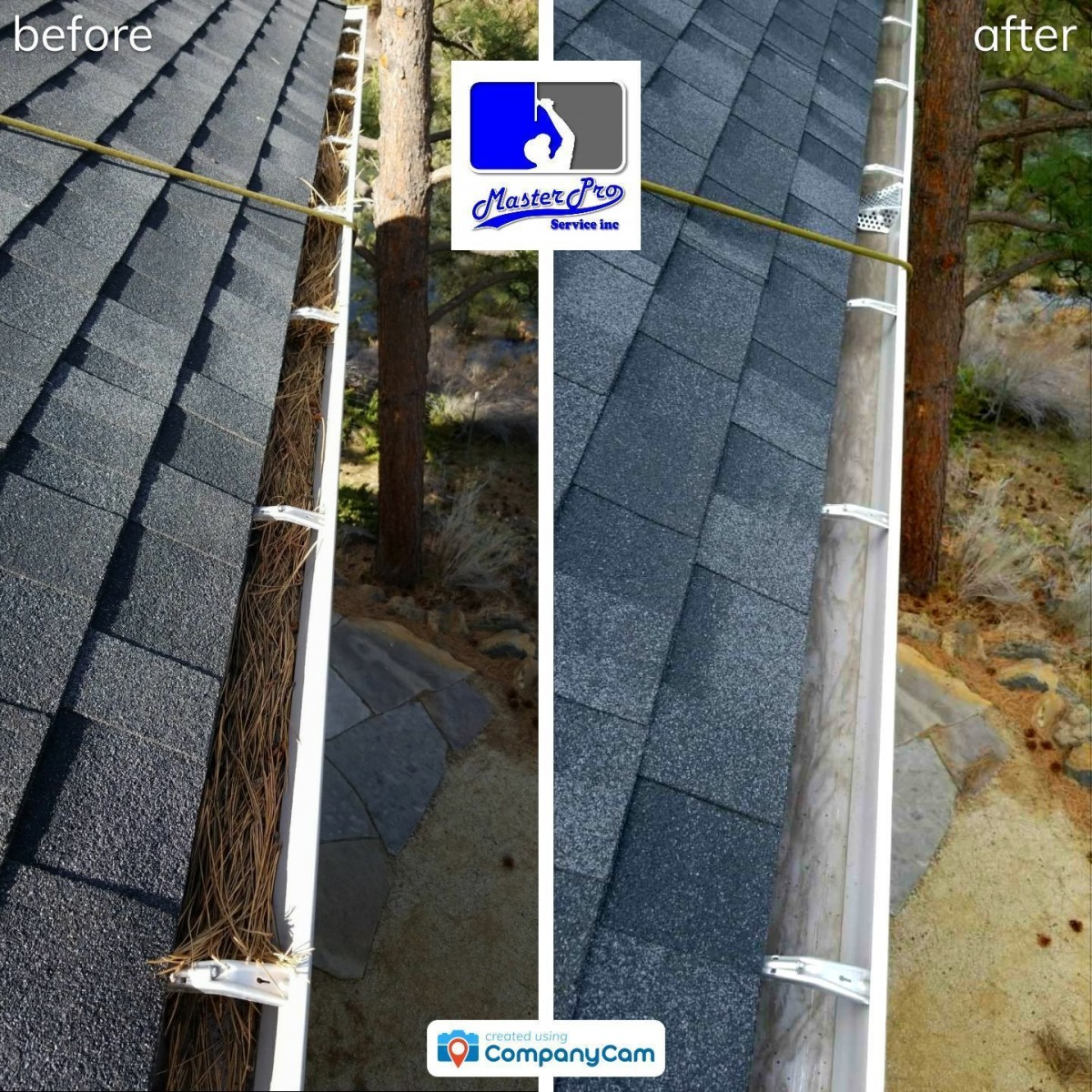 Before and after gutter cleaning in Bend, Oregon