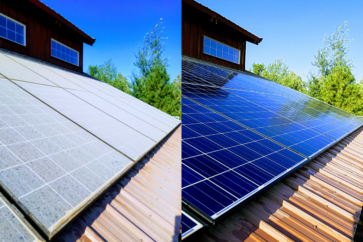 Before and after of solar panel cleaning