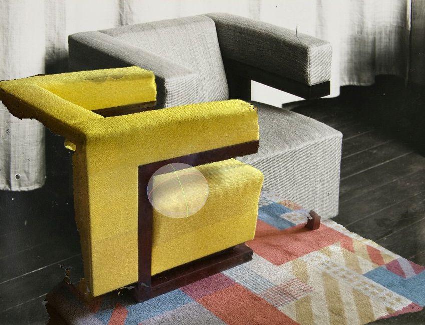 Fotomontage Gropius Sessel im Direktorenzimmer im Staatlichen Bauhaus Weimar, 1924 mit Photogrammetrie der Nachbildung des Sessels im 2019, Ines Weizman, 2019