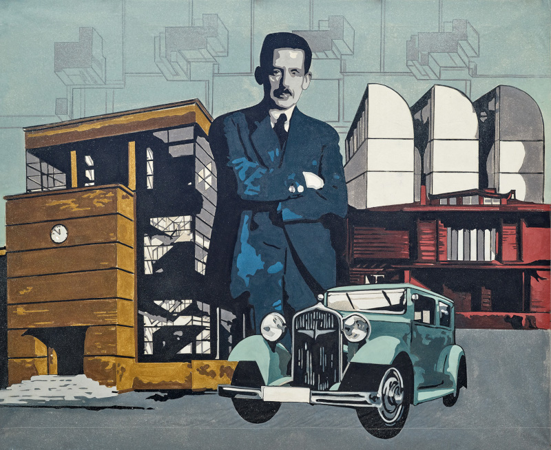 window shopping exhibition bauhaus week berlin, Directors: Walter Gropius (Gewandhaus Berlin). Collage: Eckhard Gruber, Painting: Jaqueline Teschner, acrylic paint on canvas, 191 x 232 cm. © VG Bild-Kunst,Bonn 2019