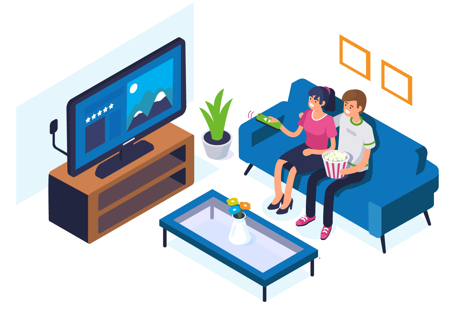 couple watching tv at home graphic