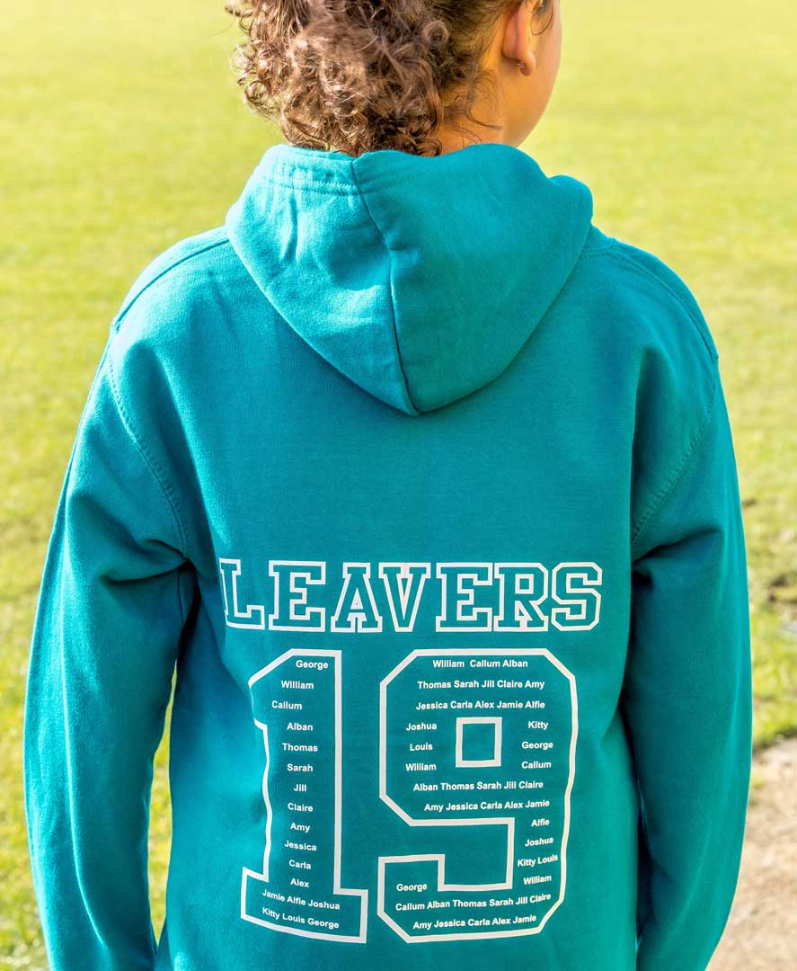 photo of child wearing a turquoise leavers hoodie