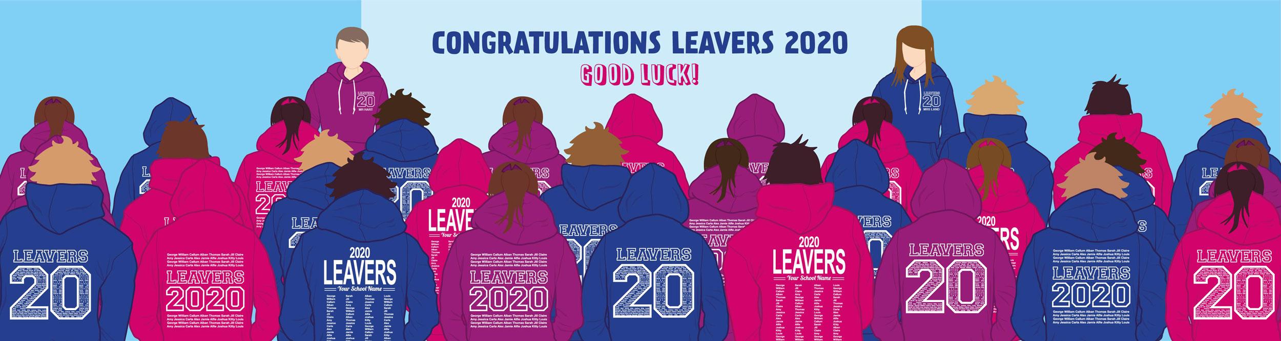 Graphic of school leavers wearing Hartland Hoodies