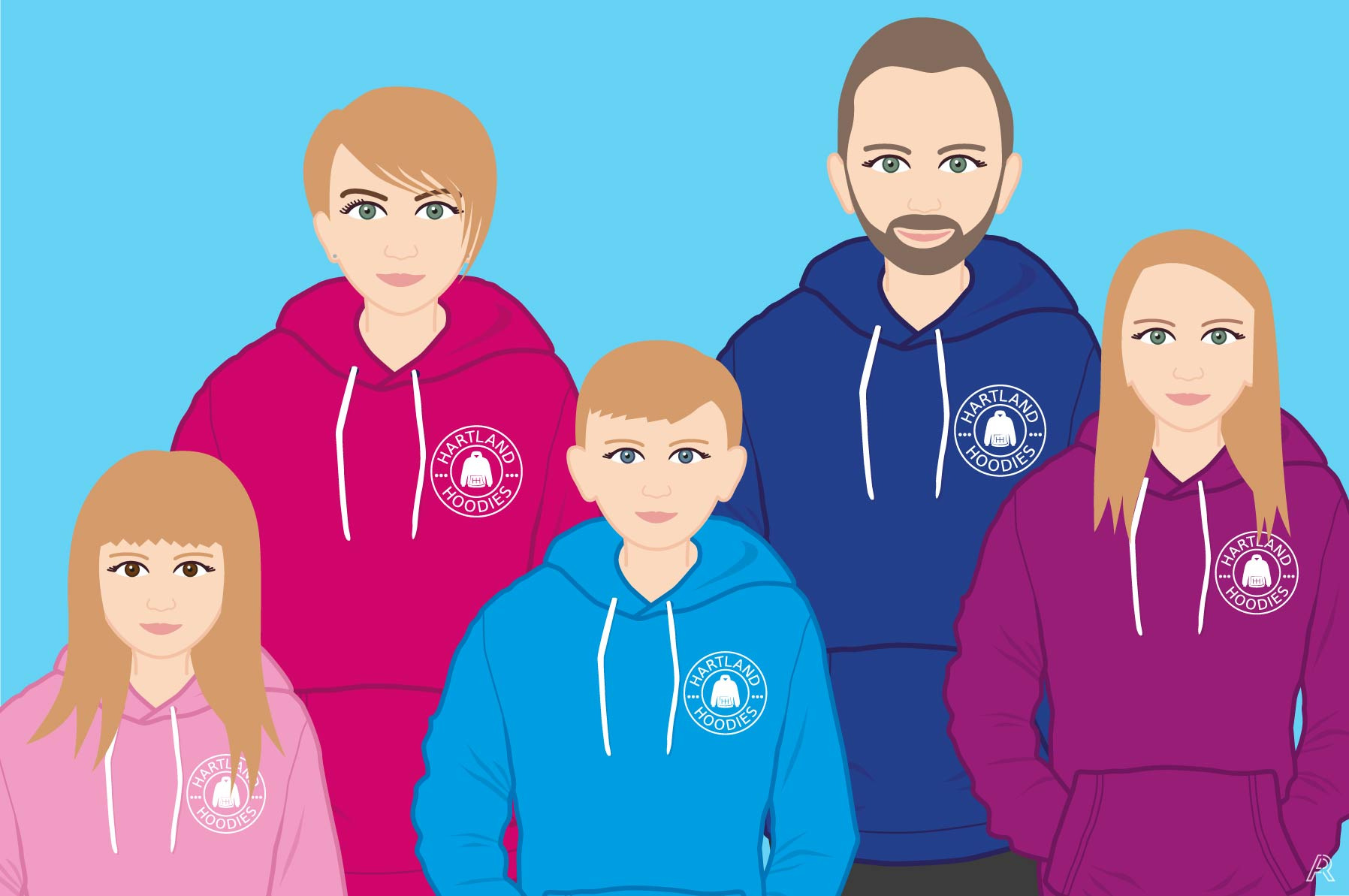 Graphic of Sophie, her Husband and three children wearing Hartland Hoodies
