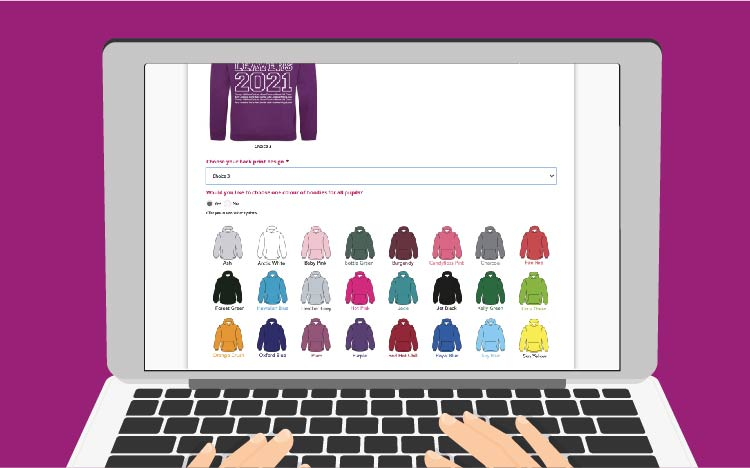 photo of a computer showing the Hartland Hoodies order form