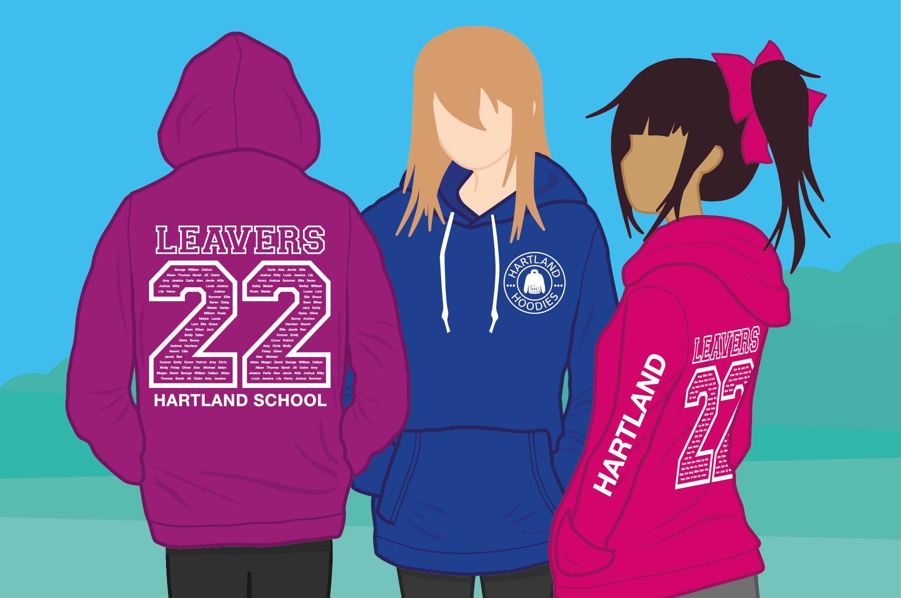 photo of children wearing school trip hoodies from Hartland Hoodies