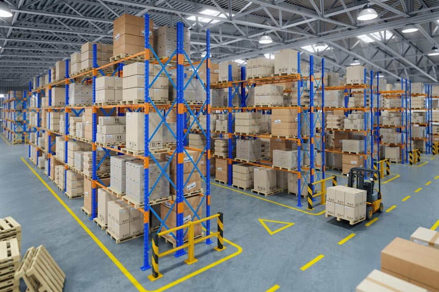Image of a Warehouse with racking, forklift, signage and floor markings