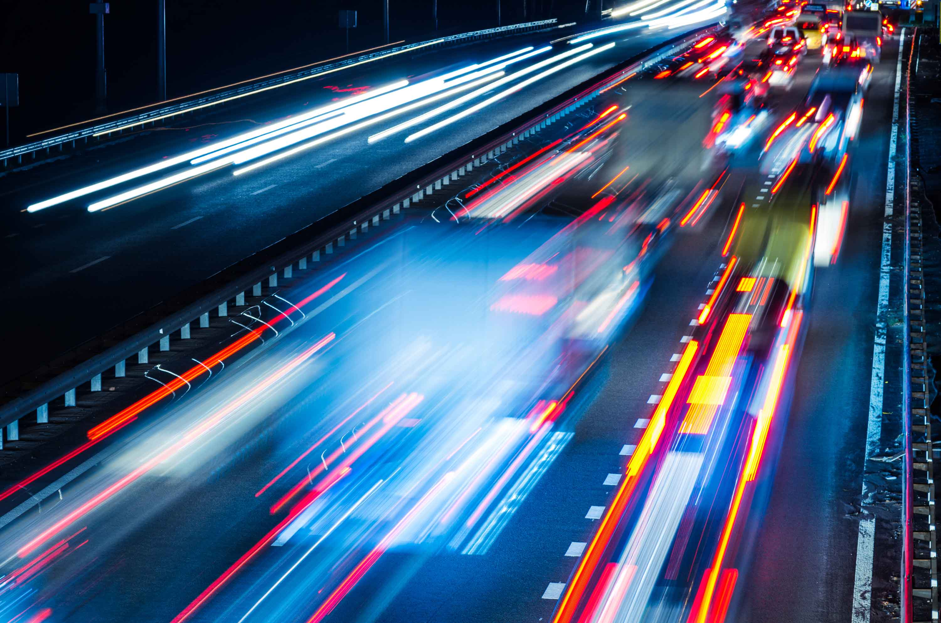 Abstract road and moving vehicle light trails