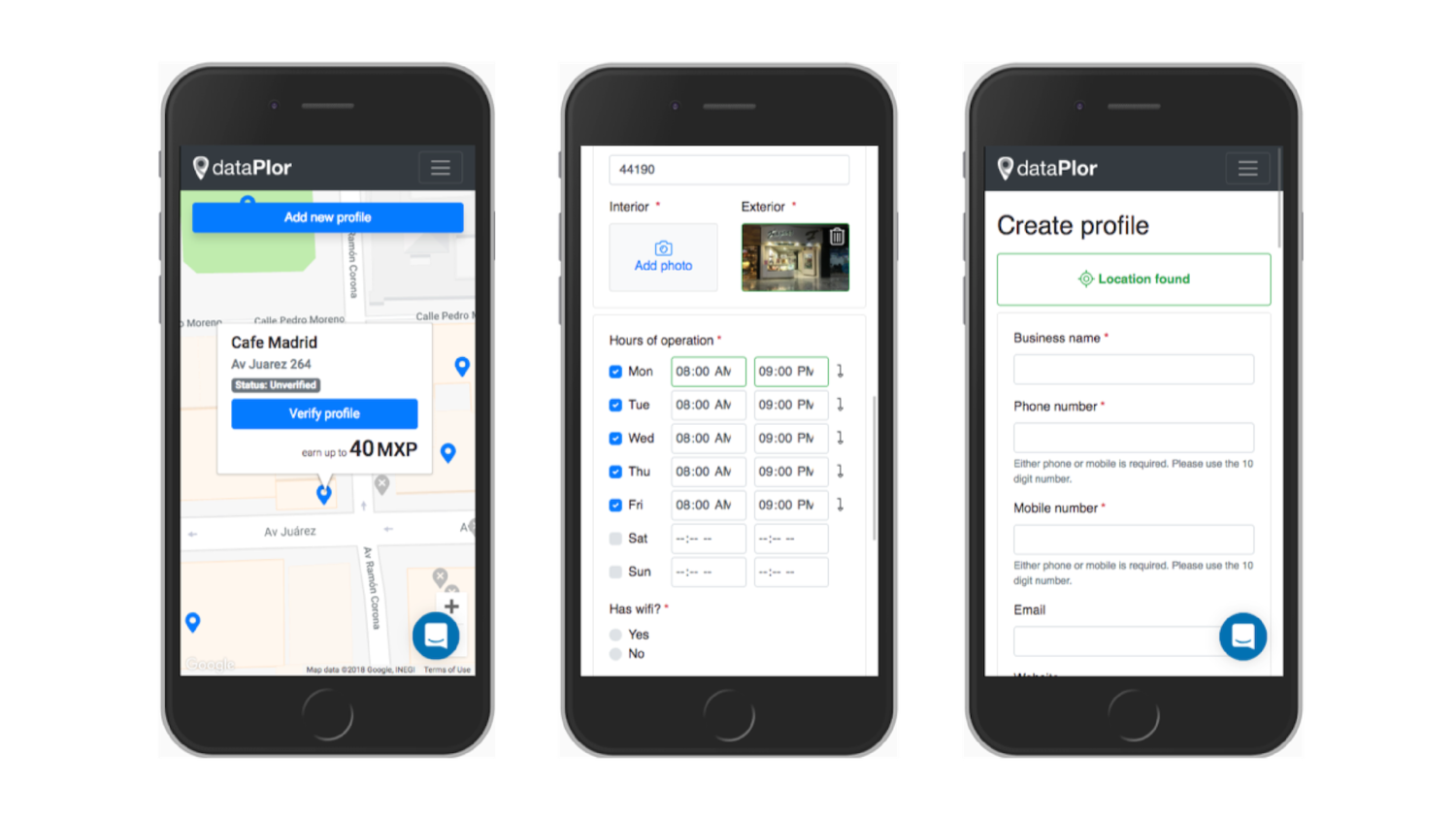 dataPlor's web-app can be populated with mapping data. Custom fields allow clients to decide what information they require from each small business location.