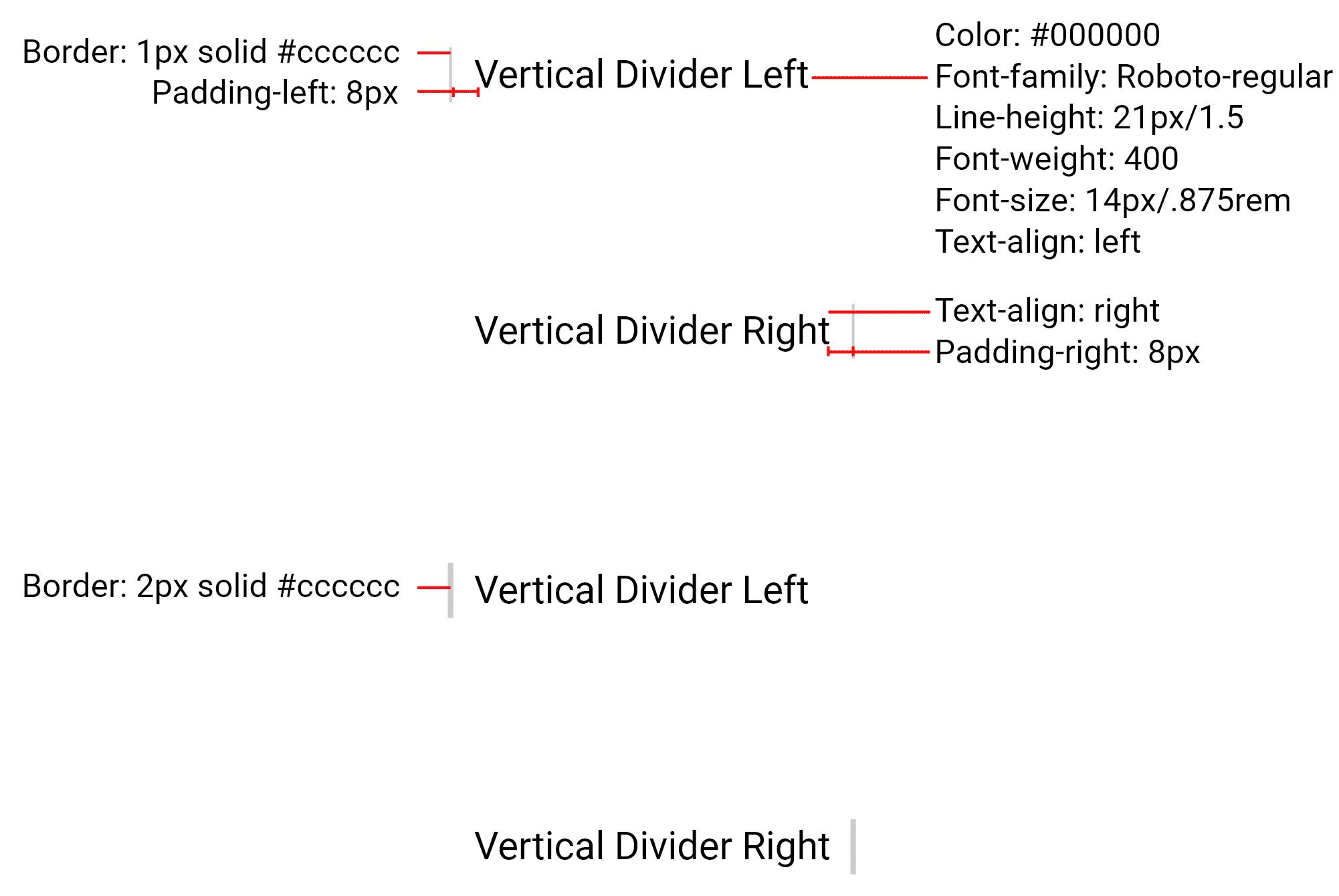 Vertical divider redlines