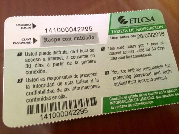 wi-fi access card from Cuba