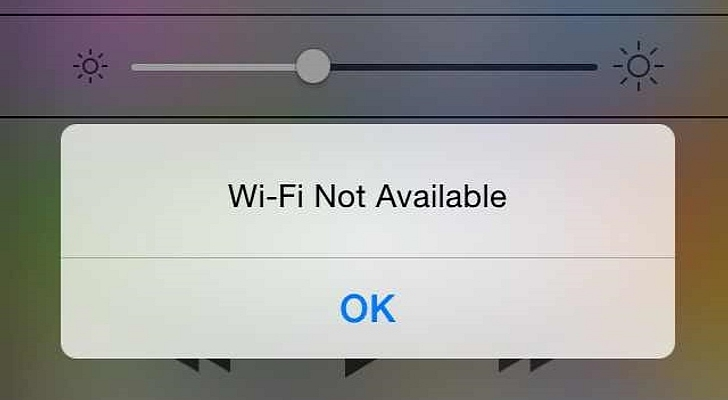 screenshot showing wi-fi not available