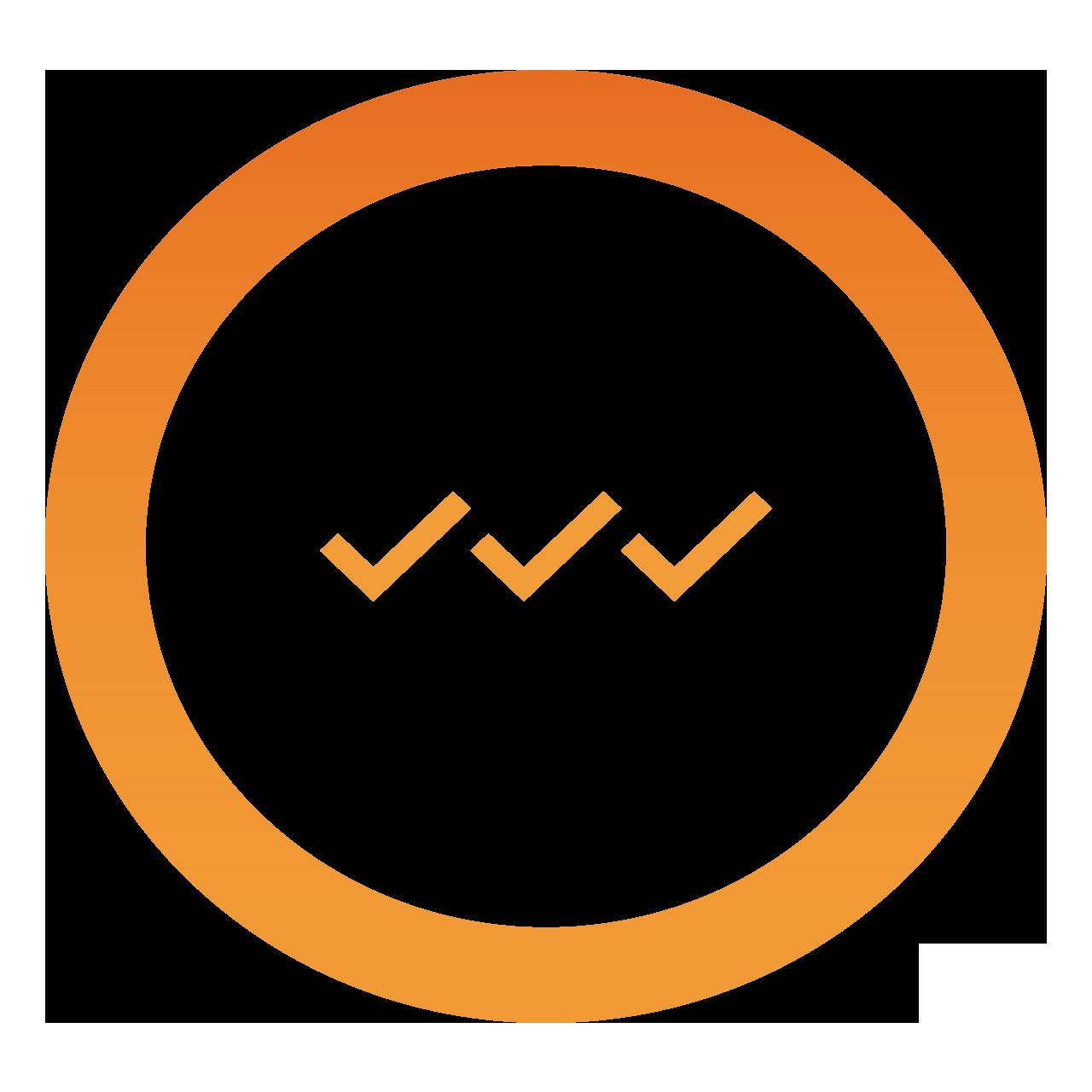 orange circle with three check marks