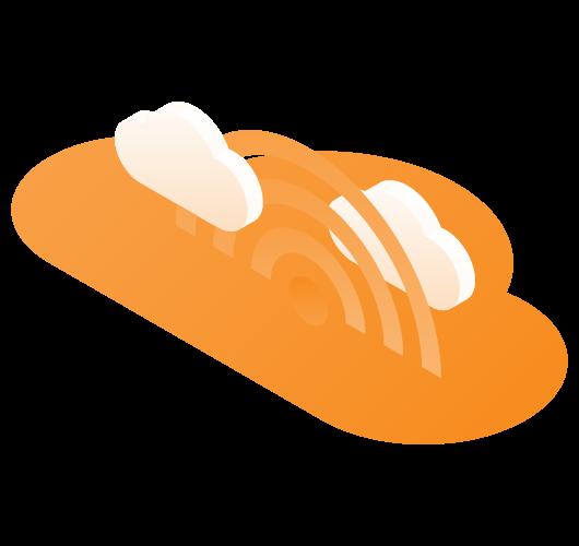 orange wifi symbol with white clouds