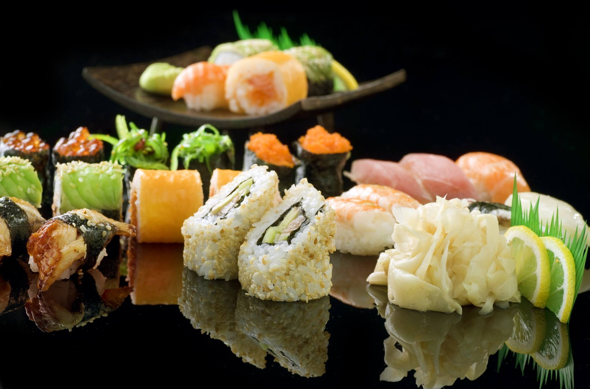 large selection of sushi at Nakama