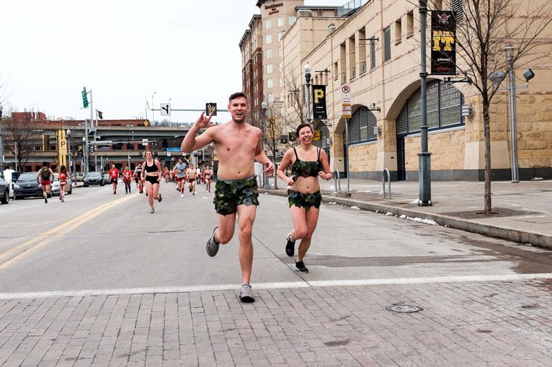 couple in Cupid's Undie Run