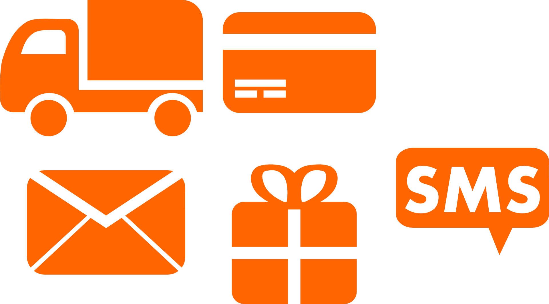 truck, credit card, letter, gift, and sms icons