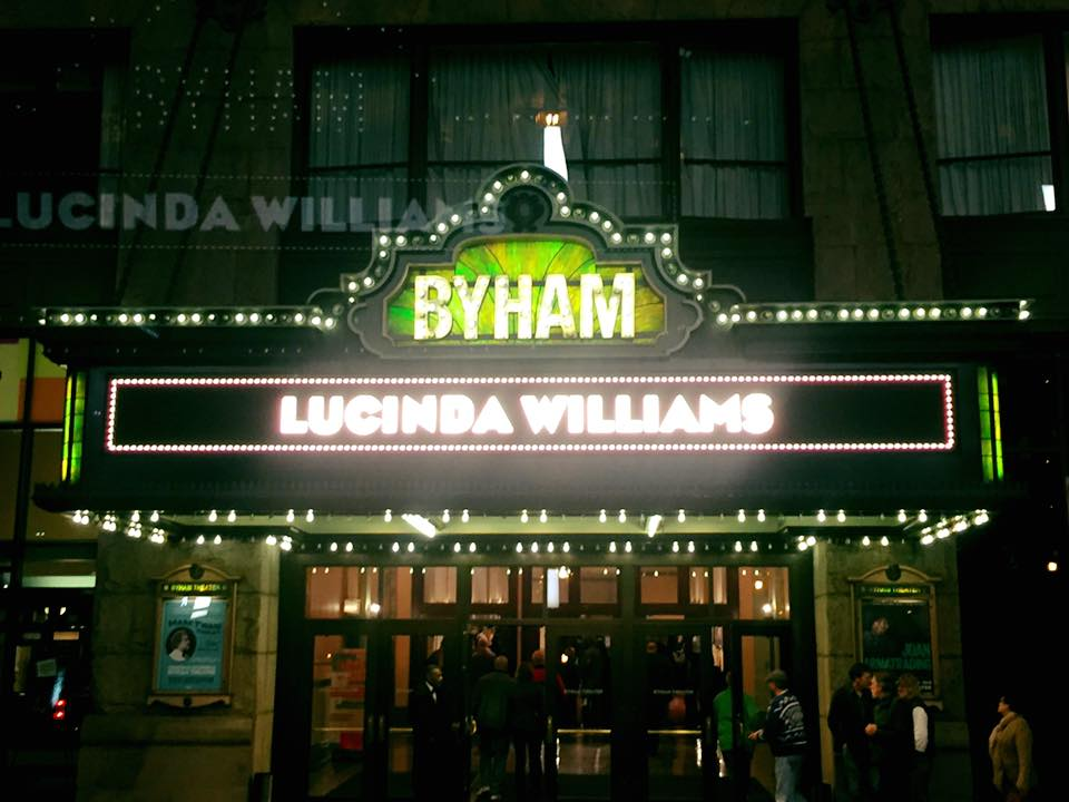The Byham Theater lit up at night