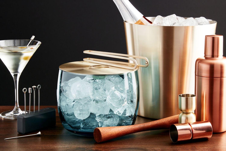 Bar tools and ice bucket