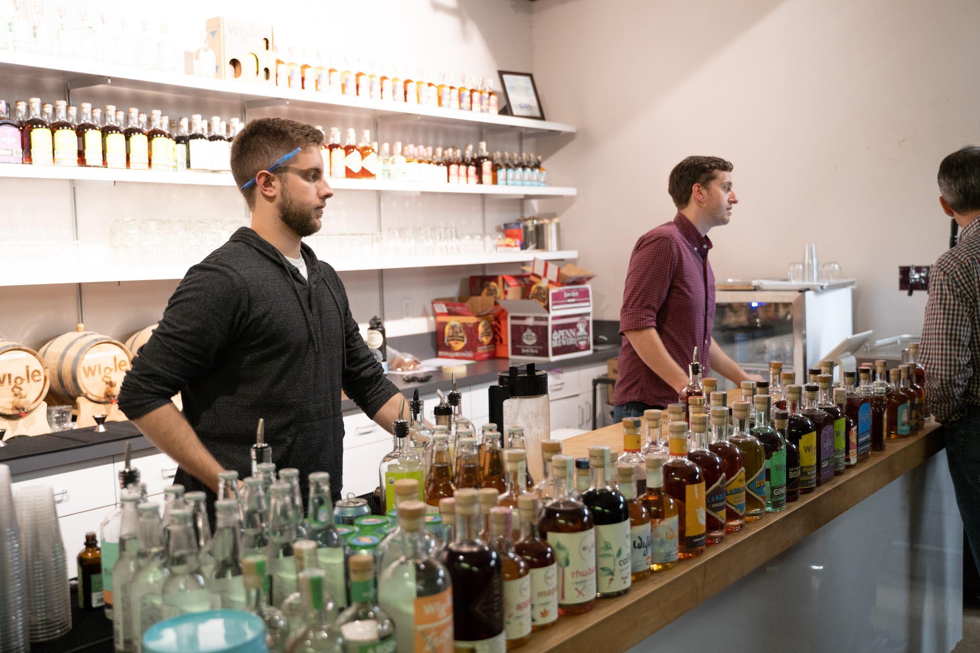 Tasting bar for Wigle Whiskey