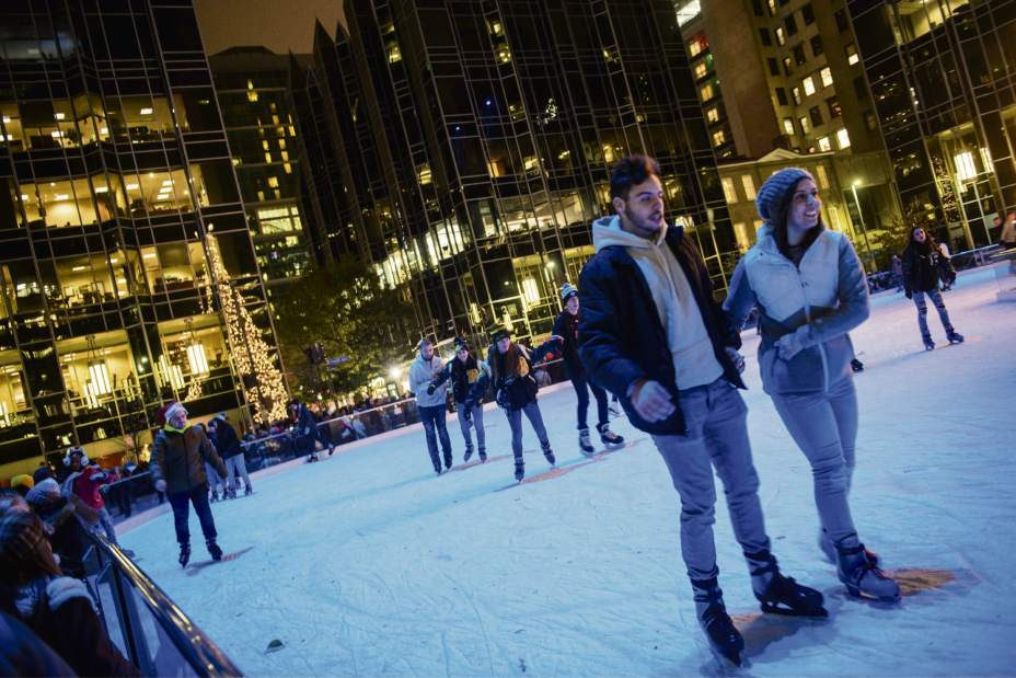 Ice skating at the rink at PPG Place