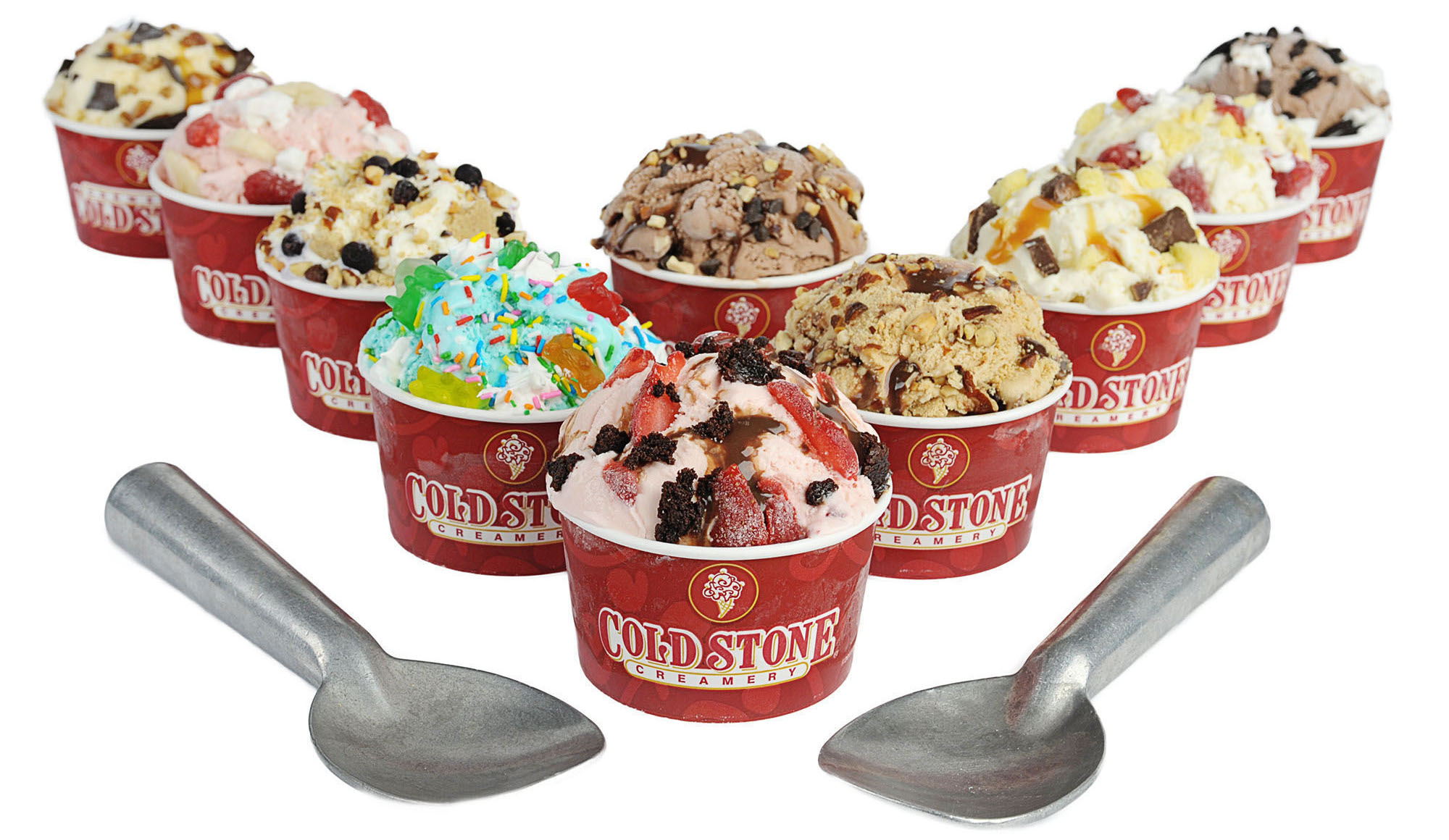 Selection of ice cream at Cold Stone Creamery