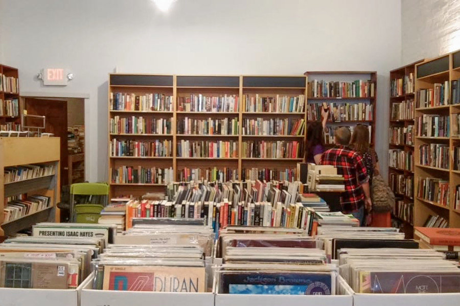 the bookshelves and record stacks of Amazing Books and Records
