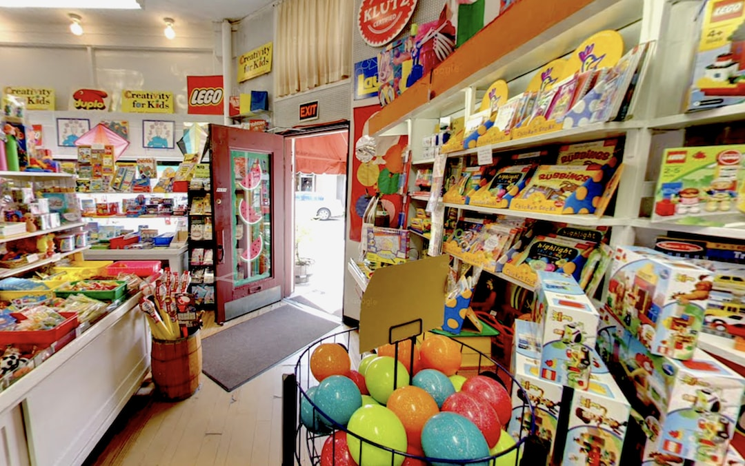 colorful toy display at Shadyside Variety Store