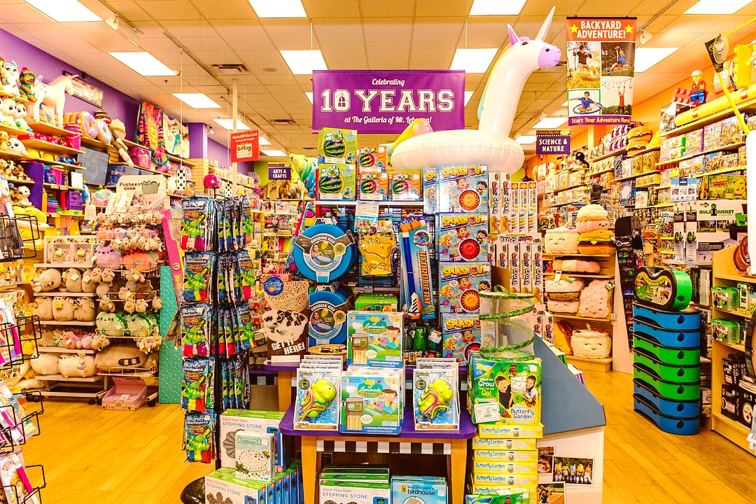 colorful toy display at Learning Express