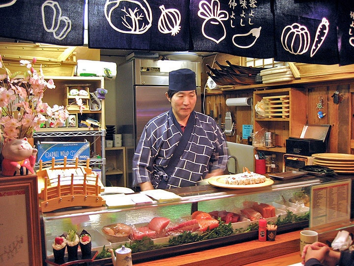 Chef Yasu behind Chaya's counter