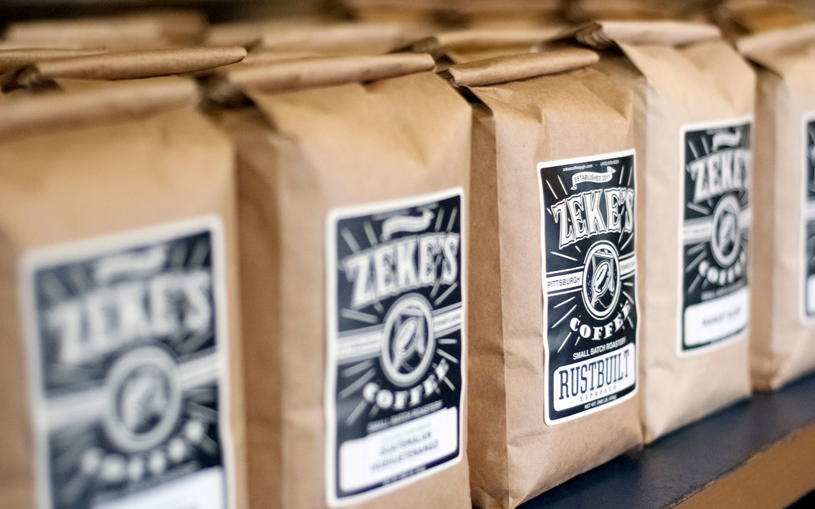 bags of Zeke's coffee