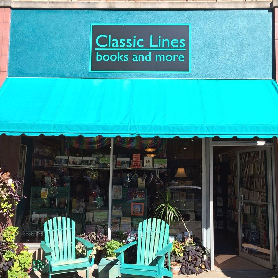 the bright turquoise storefront of Classic Lines