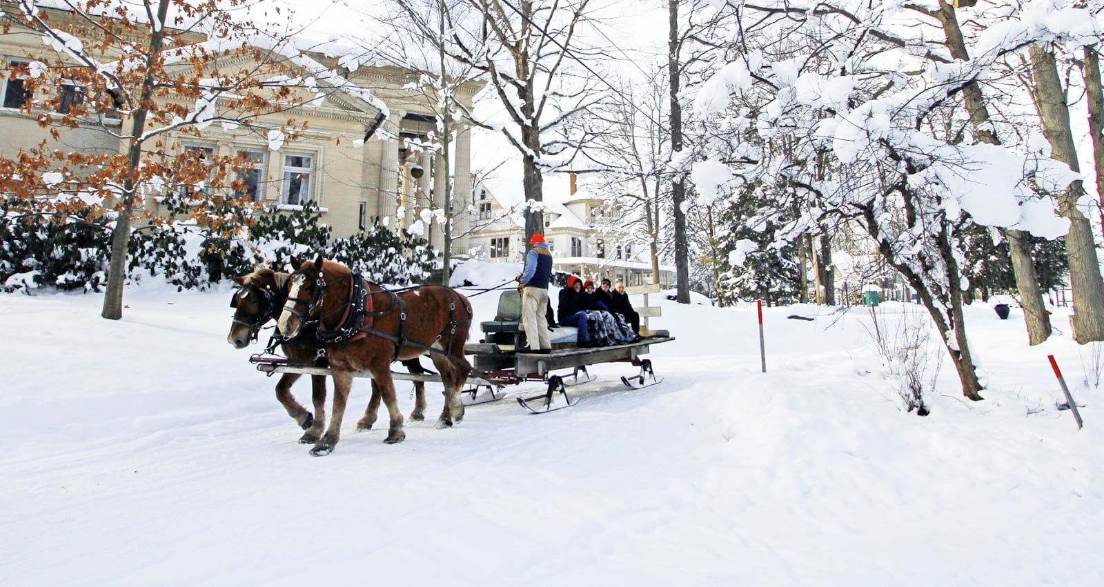 A horse-drawn sled ride through picturesque Chautauqua
