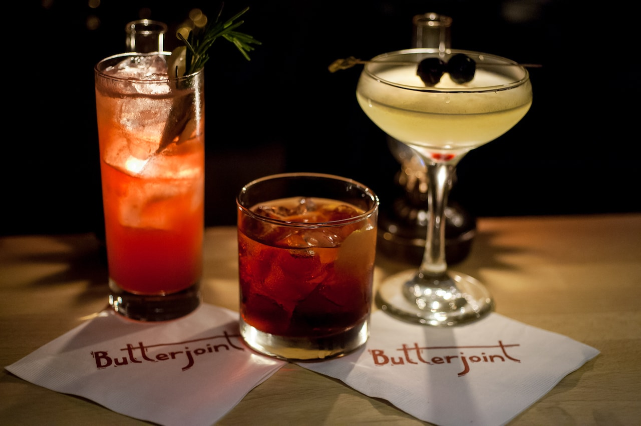 three distinct cocktails at Butterjoint