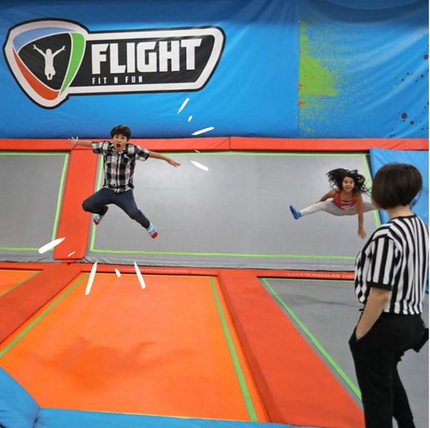 Kids jumping on Flight Fit n Fun trampolines