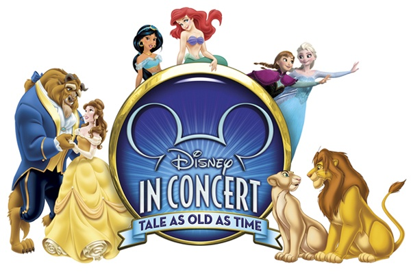 "Flyer for Disney in Concert ""Tale as Old as Time"" featuring Disney Characters"