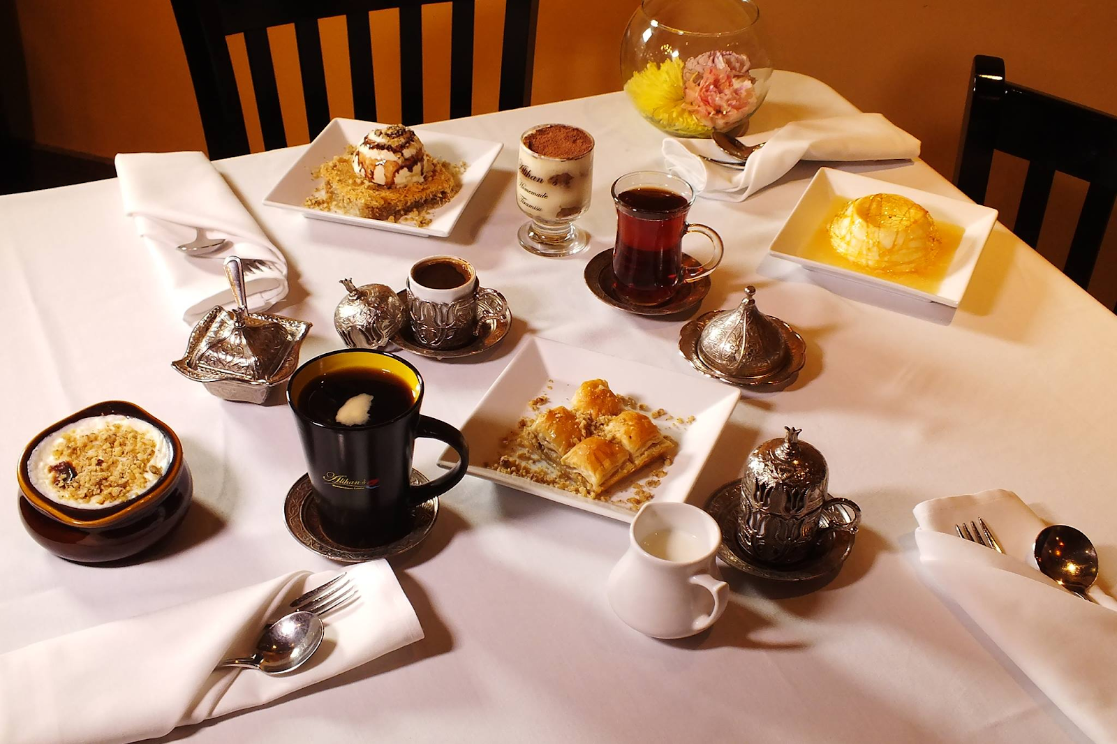 tea, coffee, and desserts