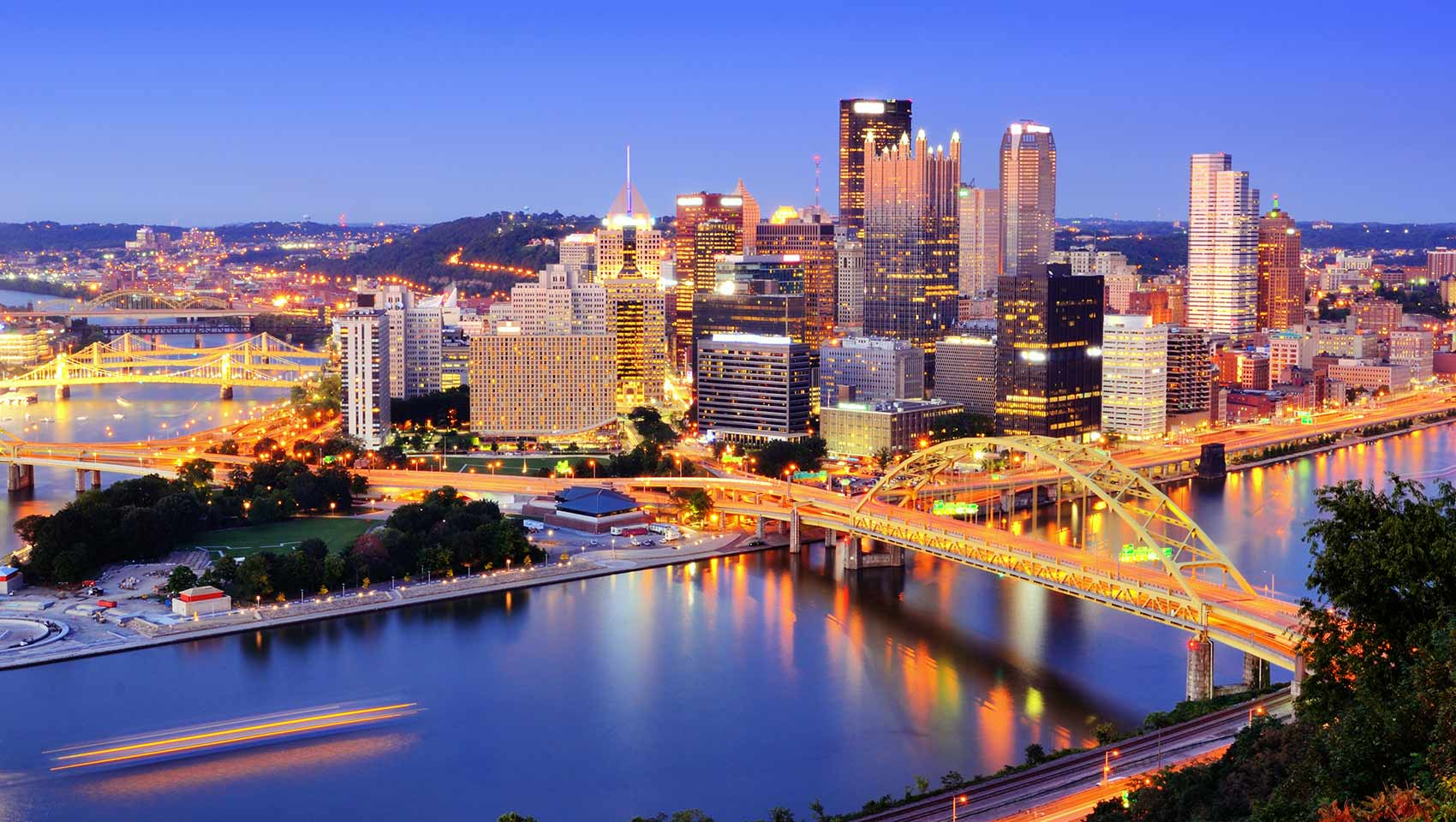 The skyline of Pittsburgh