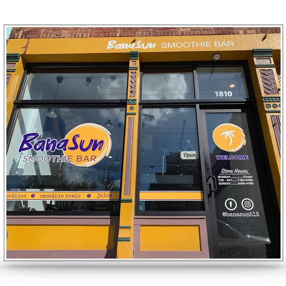 This smoothie bar entrance is orange because of its name, BanaSun