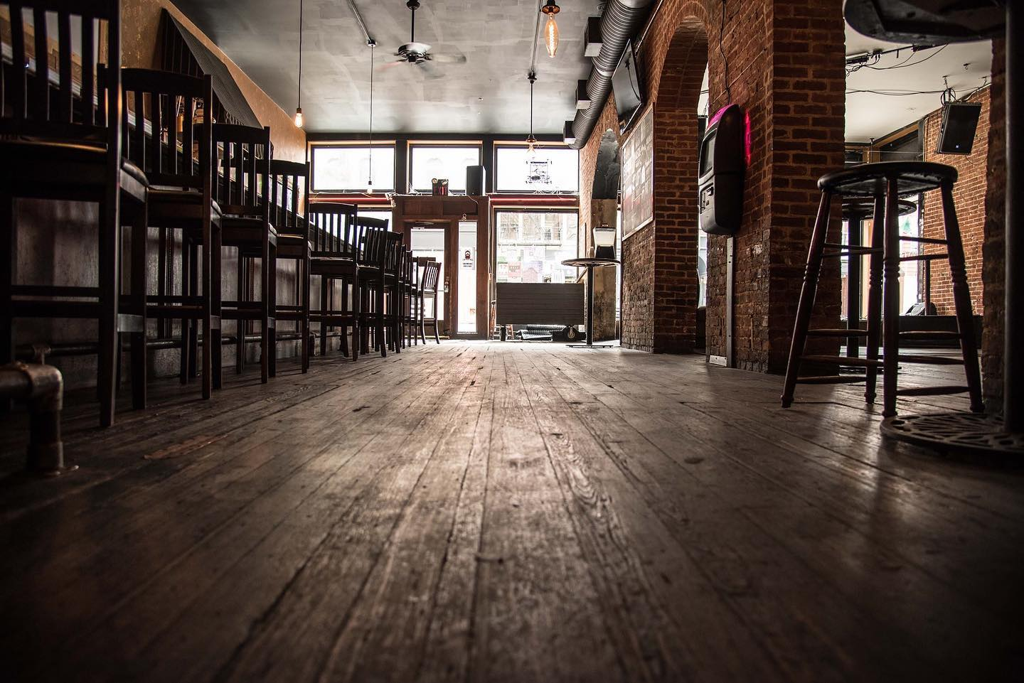 The Drinkery is made of wood, brick, and has an old bar feel